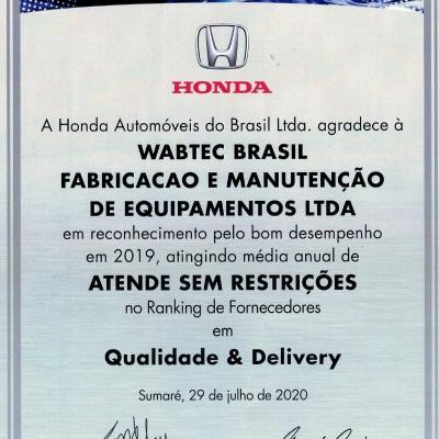 CERTIFICAÇÃO HONDA AUTOMÓVEIS - SUPPLIER AWARDS 2019